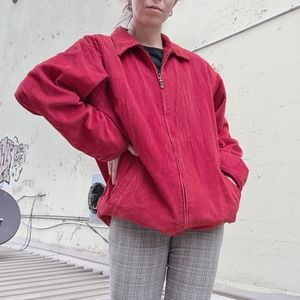 Red corduroy jacket with plaid lining